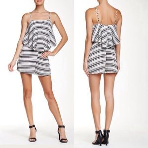 Lush Striped Popover Babydoll Romper -Cover Up